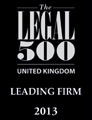 The Legal 500 United Kingdom Leading Firm 2013